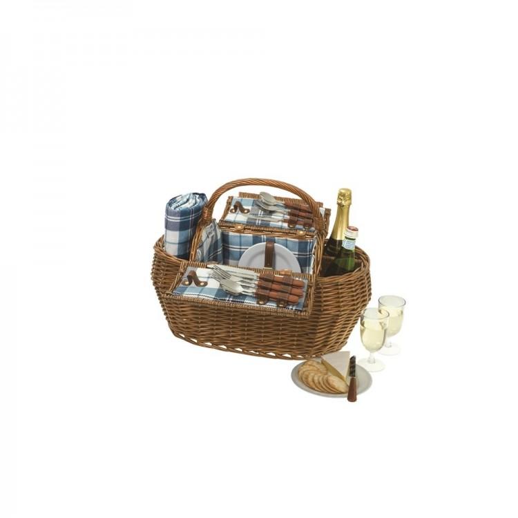 Avanti 4 Person Picnic Basket Set in Willow Blue Check