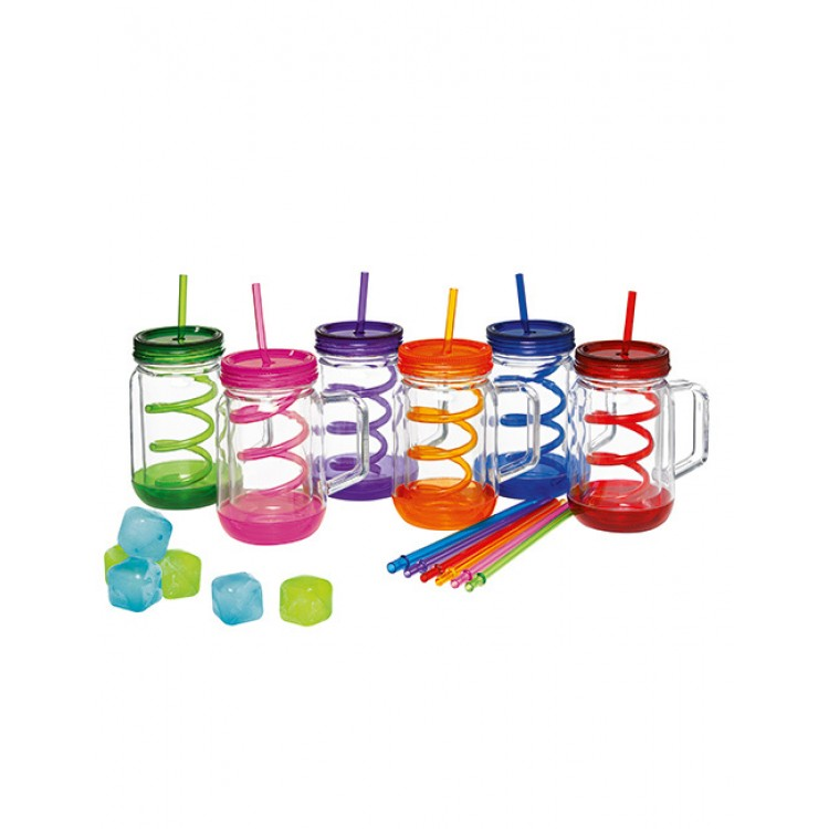 Avanti Twin Wall Mason Jar with Handle - 6 Piece Spiral Straw x6 and Ice Cube Shapes x 12