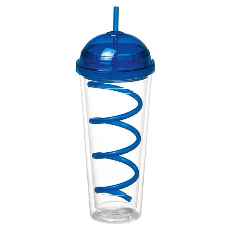 Avanti Twin Wall Tumbler with Spiral Straw Blue