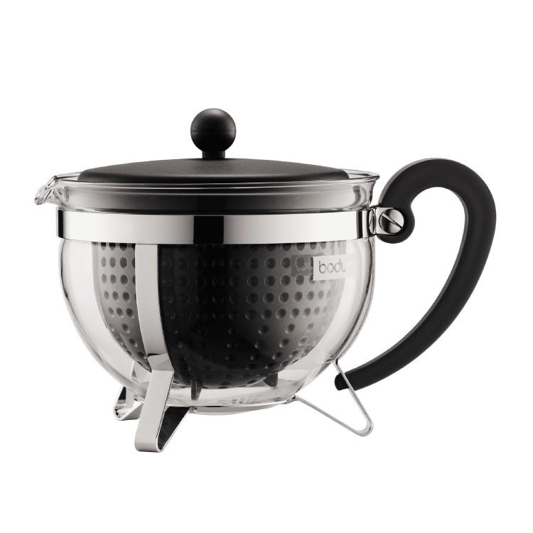 Bodum Chambord Tea pot, 1.3 l, 44 oz with coloured plastic lid, handle, knob and filter black