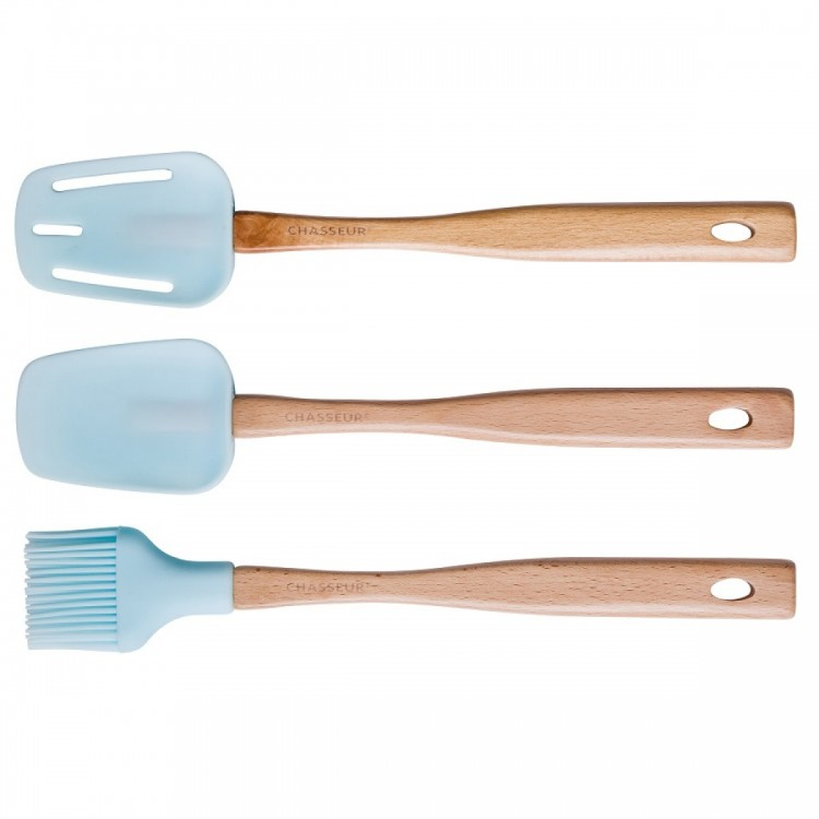 Chasseur Spatula, Brush & Spoon Set Duck Egg Blue