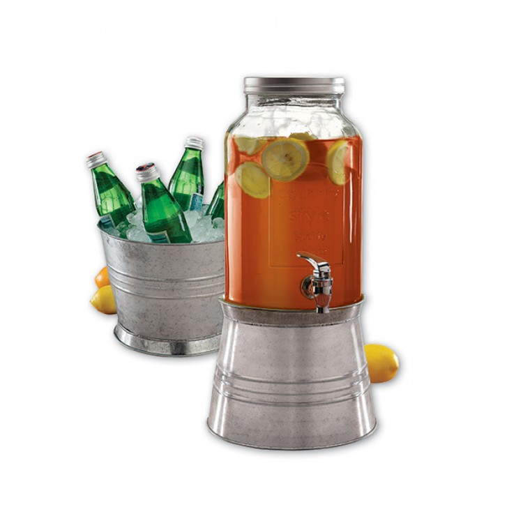 Avanti Glass Beverage Dispenser with Dual Purpose Galvanised Metal Base