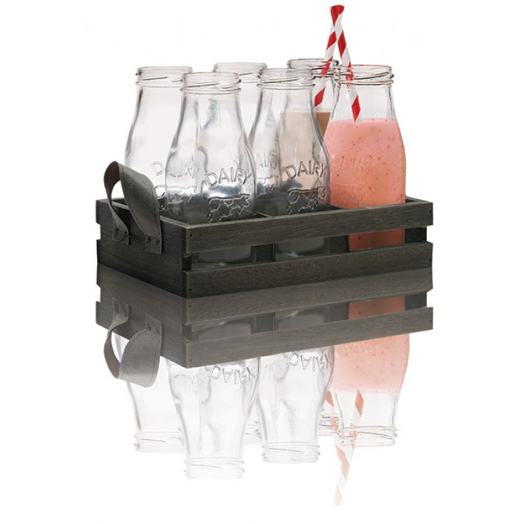 Avanti Glass Milk Bottle with Candy Stripe Straw 6 Piece Set in Wooden Tray