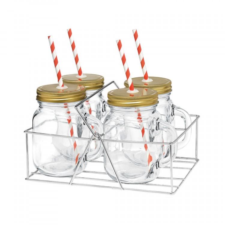 Avanti Mason Jar with Handle and Candy Stripe Straw 400ml 4 Piece Set in Caddy
