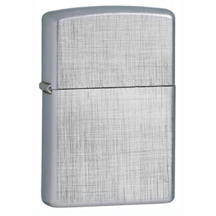 Zippo Classic Lighter - Brushed Chrome  Linen Weave Pattern