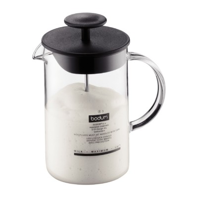 Bodum Latteo Milk frother with glass handle, 0.25 l, 8 oz Black