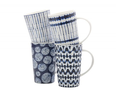 Maxwell & Williams Mug Quartets Shibori Mug 420ml Set of 4 Gift Boxed