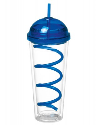 Avanti Twin Wall Tumbler with Spiral Straw Blue