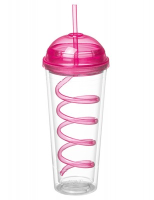 Avanti Twin Wall Tumbler with Spiral Straw Pink