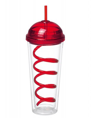 Avanti Twin Wall Tumbler with Spiral Straw Red