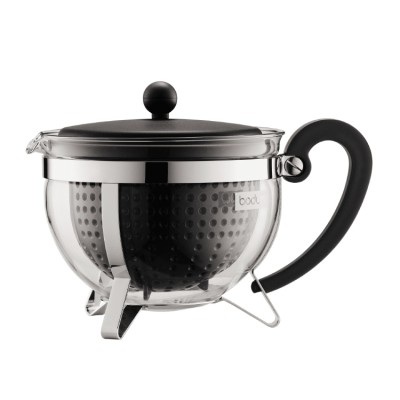 Bodum Chambord Tea pot, 1.3 l, 44 oz with coloured plastic lid, handle, knob and filter black