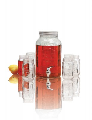 Avanti Glass Beverage Dispenser with 470ml 6 Piece Set of Mason Jars