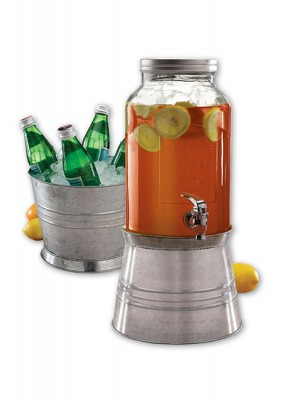 Avanti Glass Beverage Dispenser with Dual Purpose Galvanised Metal Base