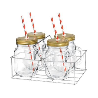 Avanti Mason Jar with Handle and Candy Stripe Straw 400ml 4 Piece Set in Caddy