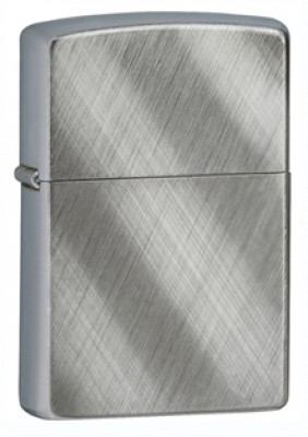 Zippo Classic Lighter - Brushed Chrome Diagonal Weave Pattern