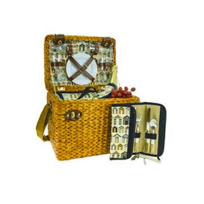 AVANTI 4 Person Insulated Picnic Basket Set Light Brown Willow