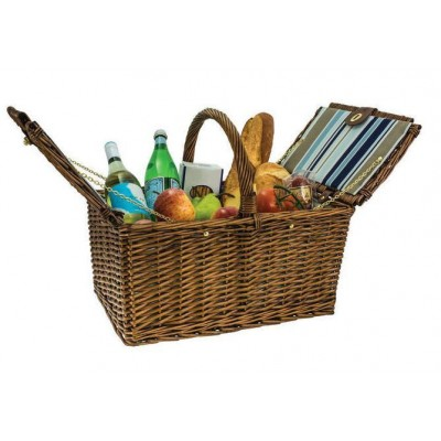 AVANTI Light Brown Willow Carry Picnic Basket Blue Stripe Pattern