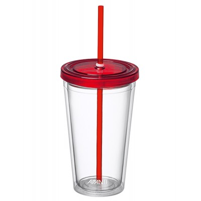 Avanti Twin Wall Tumbler with Straw - Red