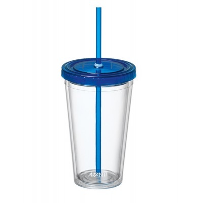 Avanti Twin Wall Tumbler with Straw Blue