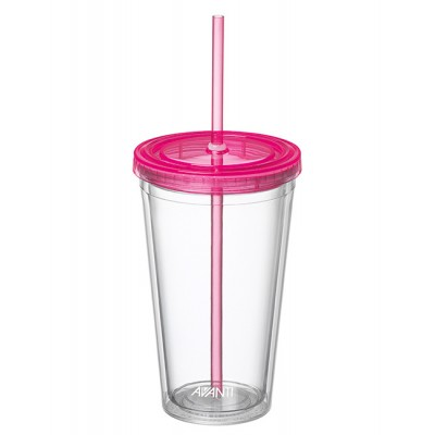 Avanti Twin Wall Tumbler with Straw Pink