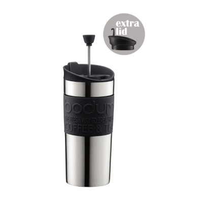 Bodum Travel press Set Coffee maker with extra lid, vacuum, small, 0.35 l, 12 oz, s/s black