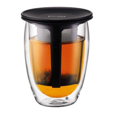 Bodum TEA FOR ONE Glass, double wall, 0.35 l, 12 oz and tea strainer  black