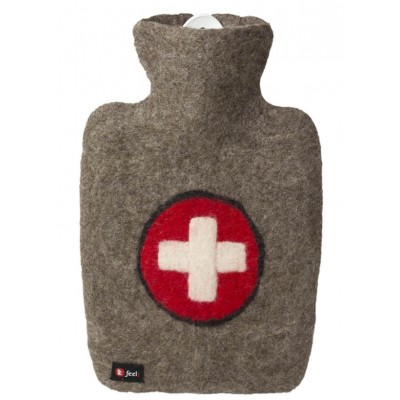 Europa Brands Hugo Frosch Hot Water Bottle Luxury Felt Cover Swiss Cross 1.8 L