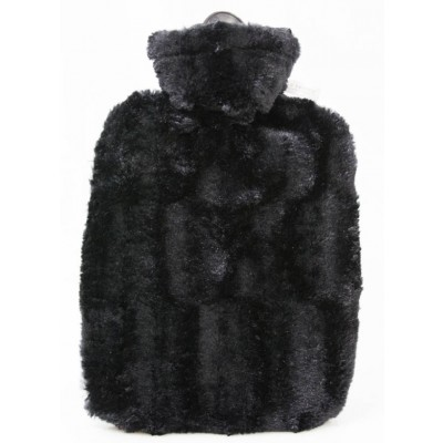 Europa Brands Hugo Frosch Hot Water Bottle Luxury Faux Fur Black Cover 1.8 L