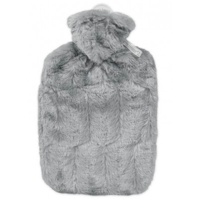 Europa Brands Hugo Frosch Hot Water Bottle Luxury Faux Fur Grey Cover 1.8 L