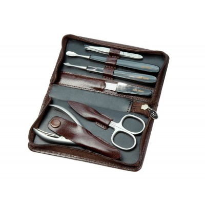 Europa Brands Hans Kniebes Leather Manicure Set Buffalo Horn