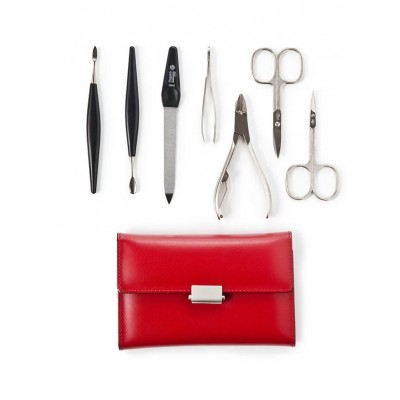 Europa Brands Niegeloh Diabolo L Leather Manicure Set Red