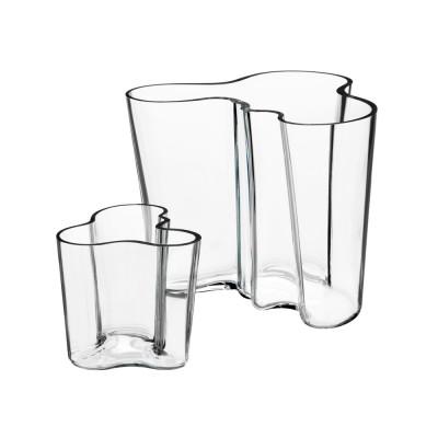 Iittala Aalto Vase Set of 2, 9.5cm & 16cm Clear