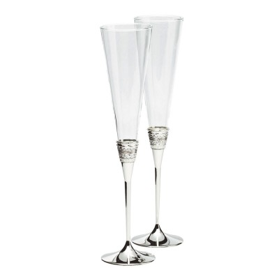 Vera Wang Wedgwood With Love Silver Giftware Toasting Flute Pair-1