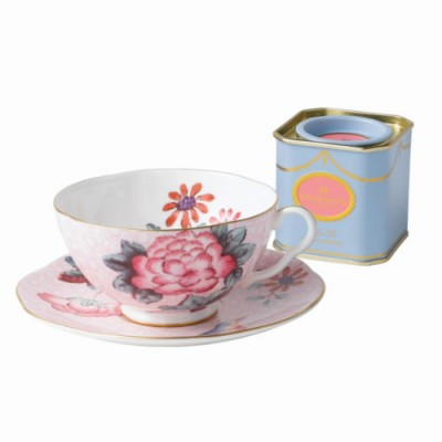 Wedgwood Pink Teacup/Saucer and 50g Caddy Set